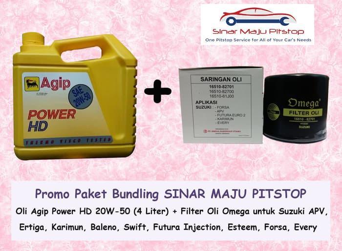 PAKET BUNDLING AGIP POWER HD & FILTER OLI SUZUKI APV ERTIGA KARIMUN / AKSESORIS MOTOR / MOBIL / VARIASI / BERKUALITAS / OTO-A3872