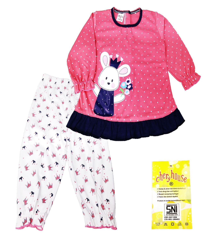 Setelan Baju tidur Piyama Panjang Bayi Anak Girl Motif Rabbit Polka- Chery House