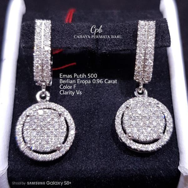 Anting Emas 18k Berlian Eropa Putih Asli Fashion Murah Meriah C291