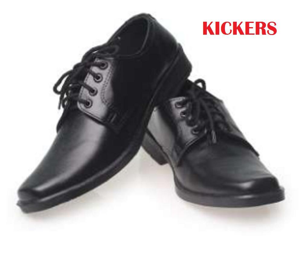 Sepatu Kickers Pantofel Pria Untuk Formal Kerja Resmi Sekolah Model Bertali Bahan Kulit Sapi Asli 100%