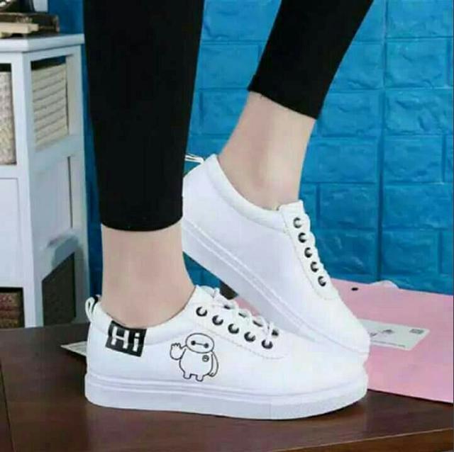 Sepatu Sneaker Kets Wanita Baymax Hi - Hitam Putih (Sepatu Trendy Keren) 2be49a3eb6