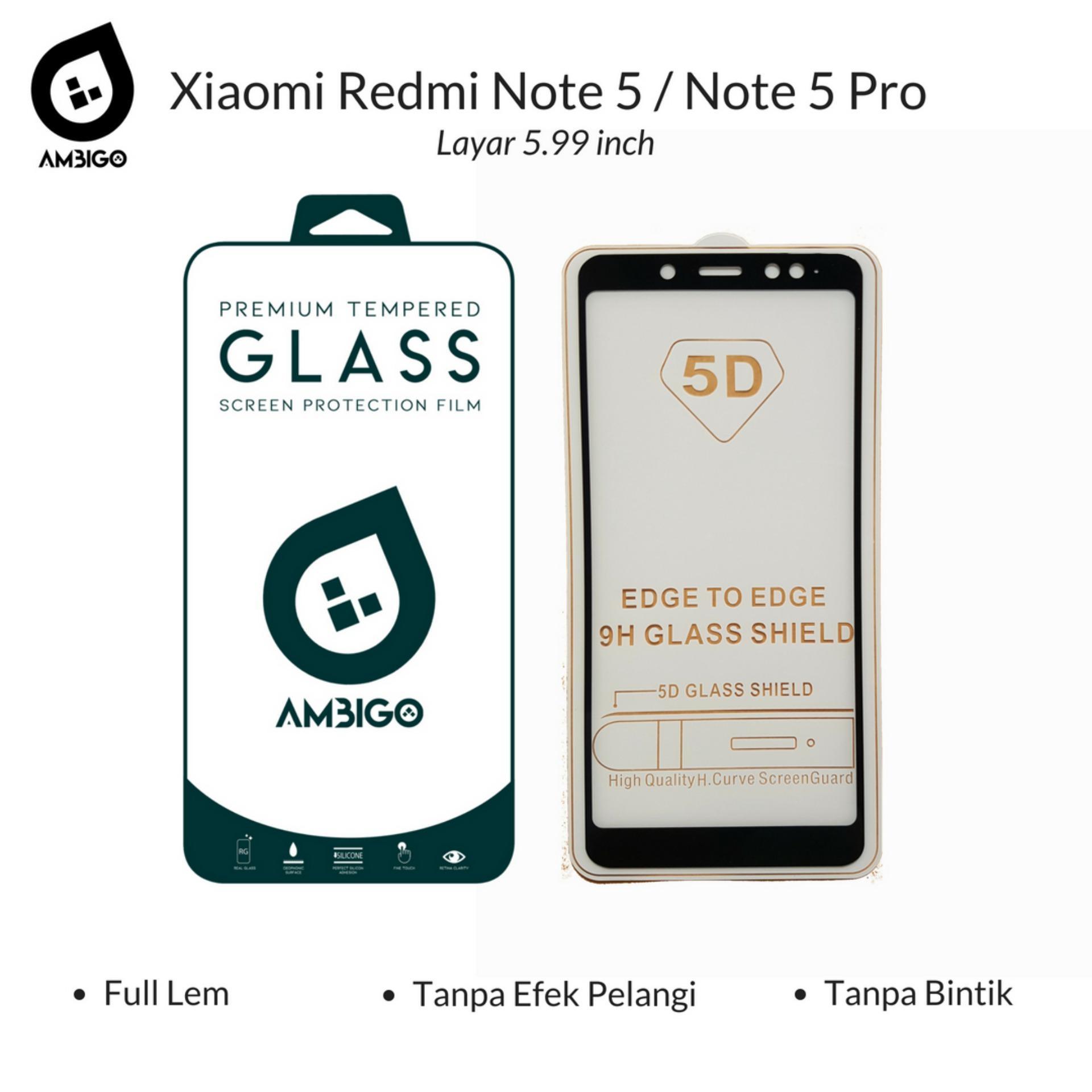 Accessories Hp Ambigo Tempered Glass 5D Full Cover Warna / Anti Gores Kaca Full Lem Untuk Xiaomi Redmi Note 5 / Note 5 Pro ( 5.99 inch ) - Black