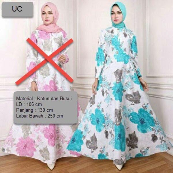 UC Baju Gamis Syari Busui Motif Bunga  / Baju Fashion Muslim Wanita Syar'i / Gaun Pesta Muslimah / Maxi Dress Lengan Panjang / Long Dress / Hijab Muslimah / Gamis Modern / Atasan Muslimah Lebaran 2018 XXA (E23) - Biru Kuning Pink hijau merah Ungu