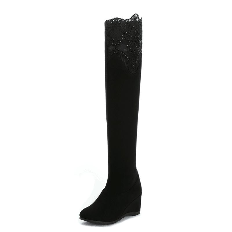 Sampai Atas Lutut Sepatu Bot Berhak Tinggi Sepatu Keelastikan Sepatu Yg Tingginya Di Atas Tabung Set Sampai Atas Lutut ([1102] Hitam)