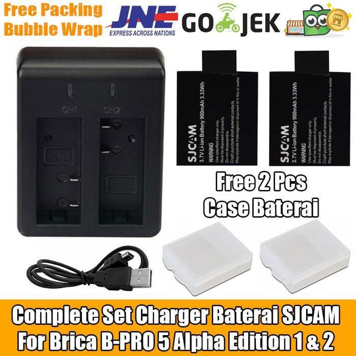 Set Batre Baterai SJCAM Charger For Brica B-PRO 5 Alpha Edition 1 & 2