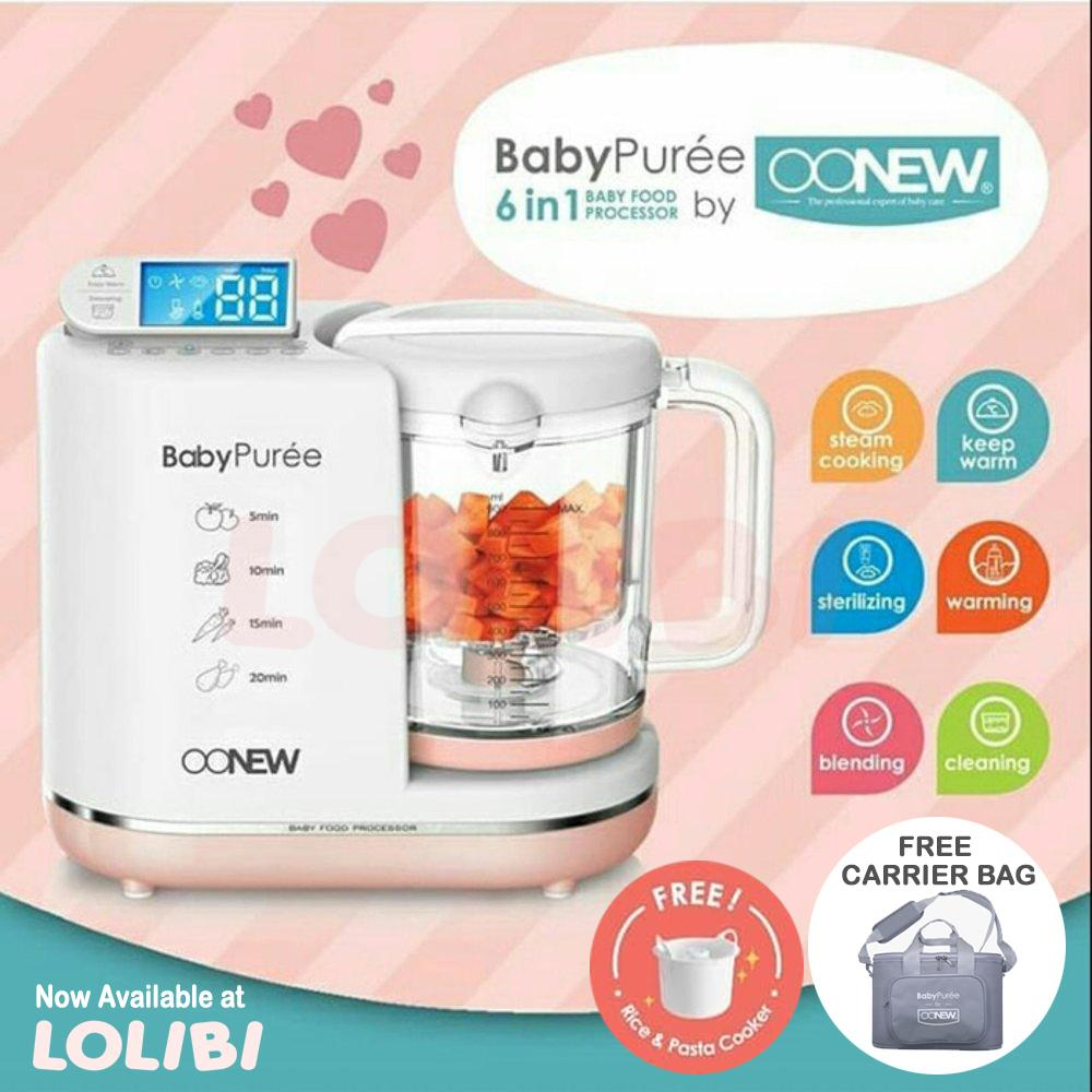 OONEW baby pure Food Processor 6in1 Steamer Blender Mpasi Bayi Pink Salmon