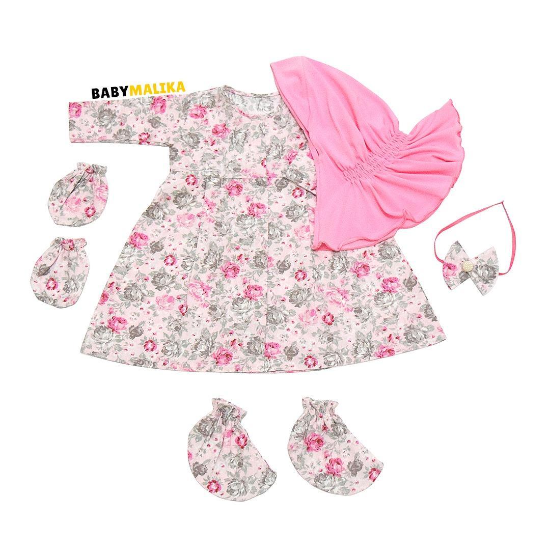 Baju Bayi Perempuan Baby Malika Gamis Bayi Newborn Aysa Camelia Candy Pink