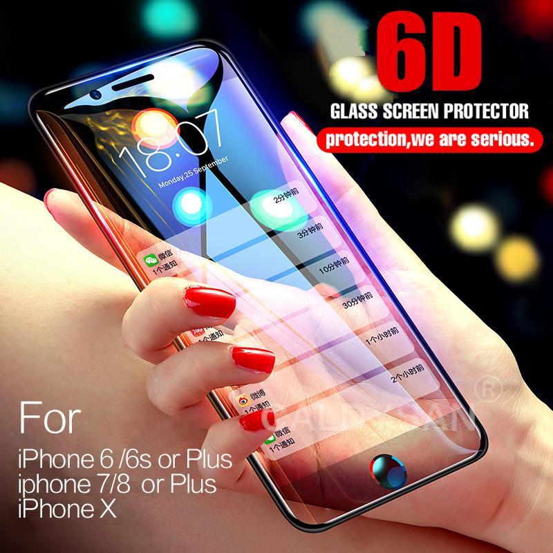 (Warna: Putih) smarcent 6D Kaca Antigores Film Penutup Penuh Melengkung Penutup Penuh Tepi untuk iPhone 6/6 S 7/8 X iPhone 6/6 S Plus 7/8 plus X-Intl