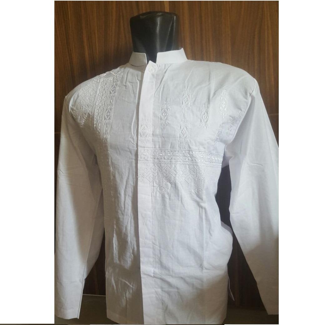 Baju Koko Pria Katun Bordir Putih Tangan Panjang