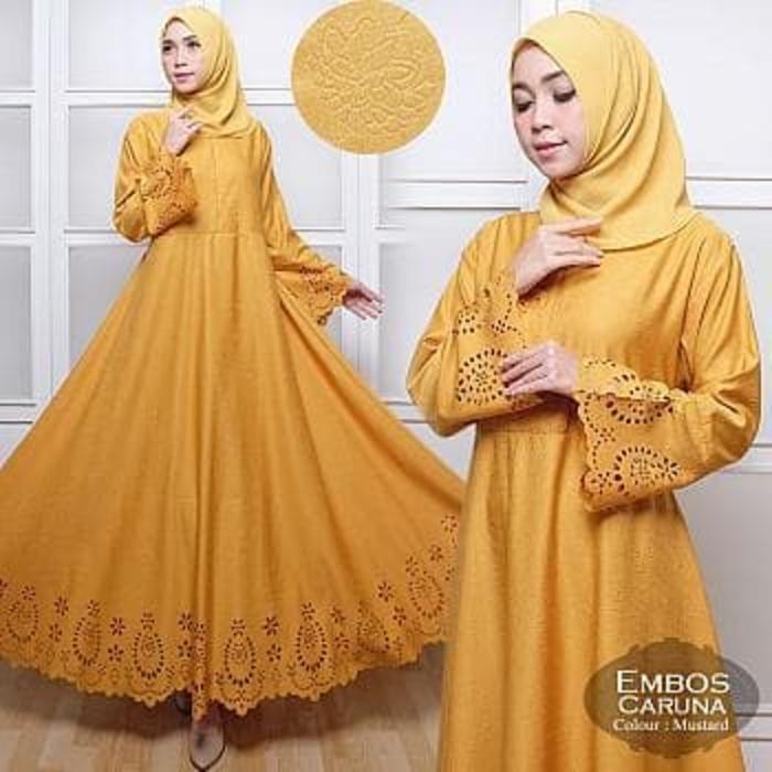 [Maxi Embos Caruna Mustard +Pasmina TL] Maxi Muslim Wanita Kuning