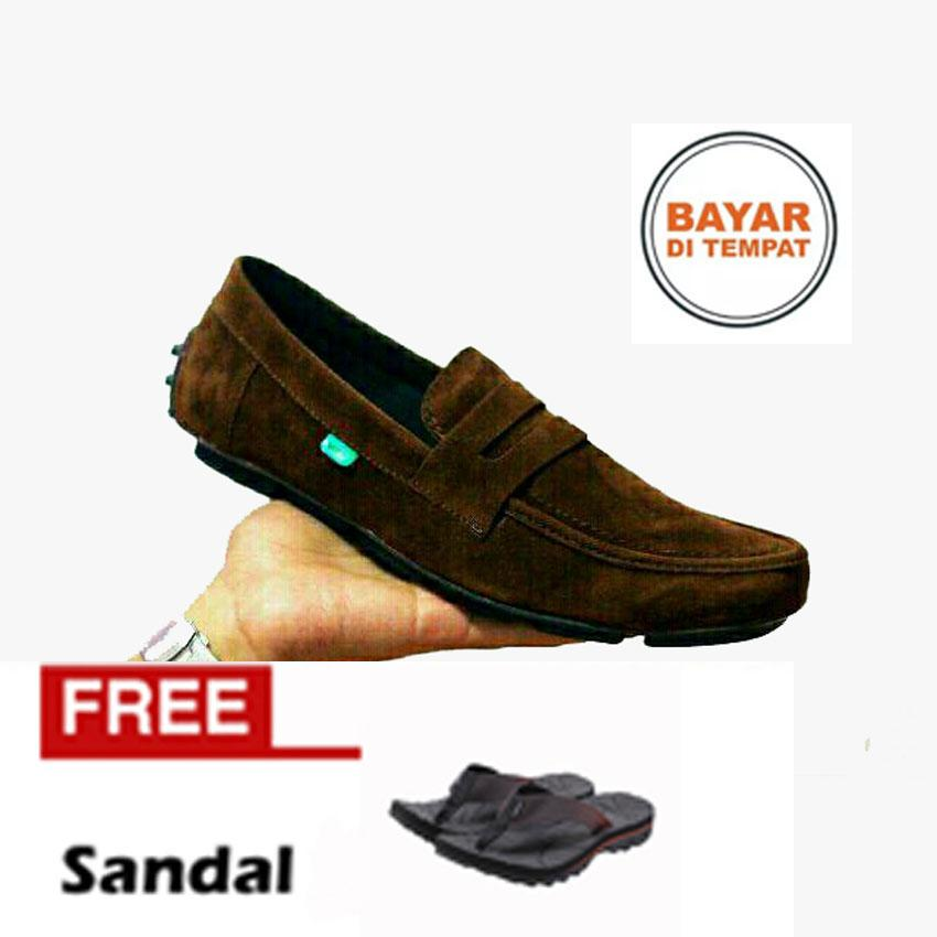 FREE SANDAL Sepatu Casual Slop Pria Kerja Santai Murah KICKERS -Sepatu Slip On Loafers-Sepatu Pria Terlaris Dan Termurah Bayar Di Temapat