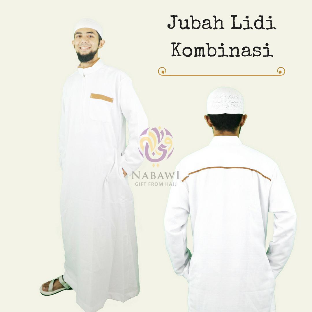 Gamis Jubah Lidi Kombinasi Busana Muslim Pria Perlengkapan Haji Umroh