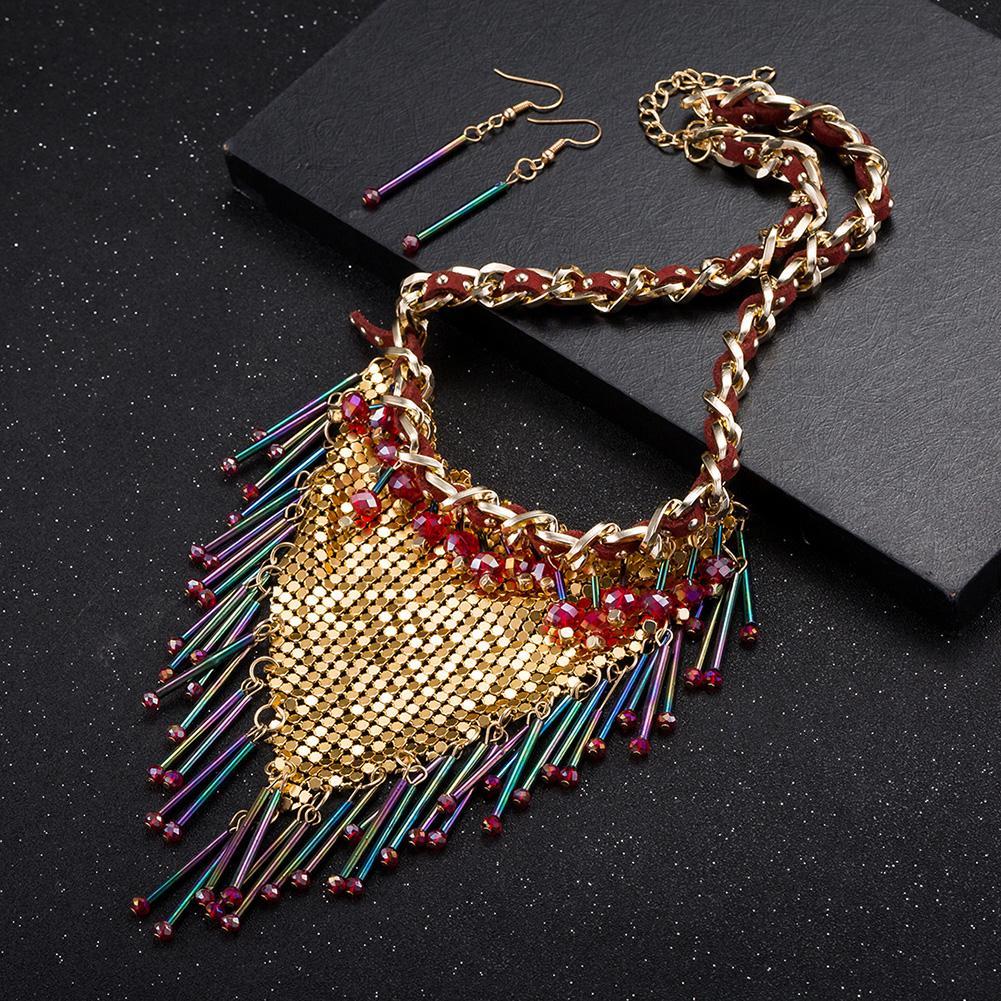 Jual panas berlebihan perhiasan merek grosir fashion paduan anting kalung set ekspor FSS002 FSS002