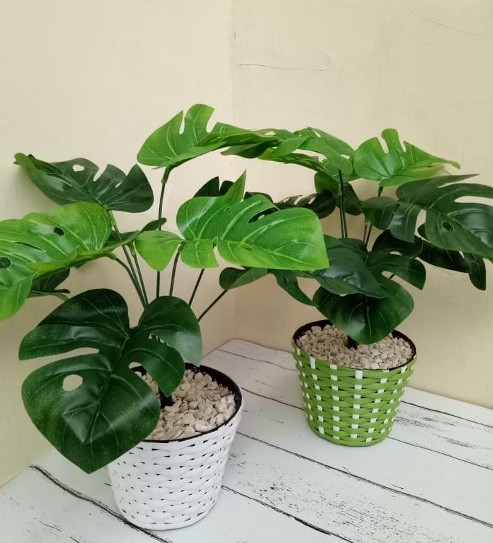 BT Pot Daun Waru Kombinasi daun bunga artifisial hiasan rumah meja 4ffc924ee4