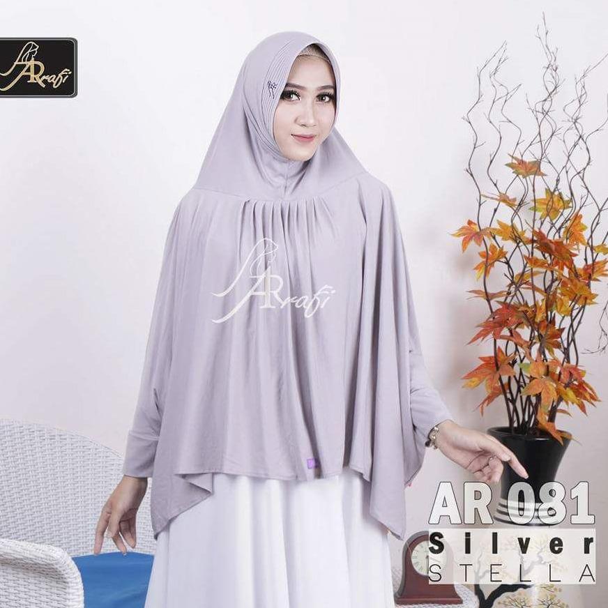 jilbab instan Helwa Arrafi (warna Abu Silver) AR081 hijab kerudung bergo syari cadar busana muslim gamis
