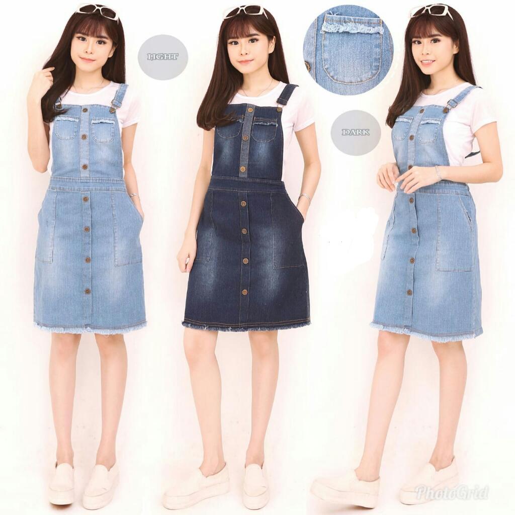 Glow fashion Dress overall jeans panjang wanita jumbo long dress jumpsuit ZharaIDR100144. Rp 100.144