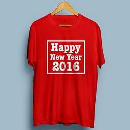 Kaos Tahun Baru 2016 Desain #3 Happy New year Merah ( T-shirt distro