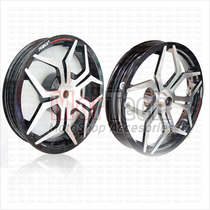 Power Velg Pelek Racing Star Tapak Lebar Motor Mio M3 125 Palang 5 Ring 14 Lebar 215 Depan 250 Belakang Hitam Chrome