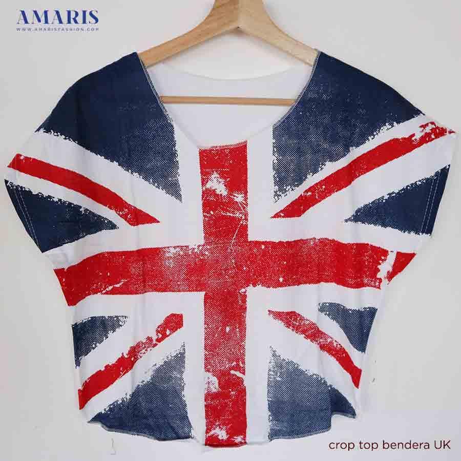 Crop Top Wanita - Baju Atasan Wanita Motif Bendera UK - Amaris