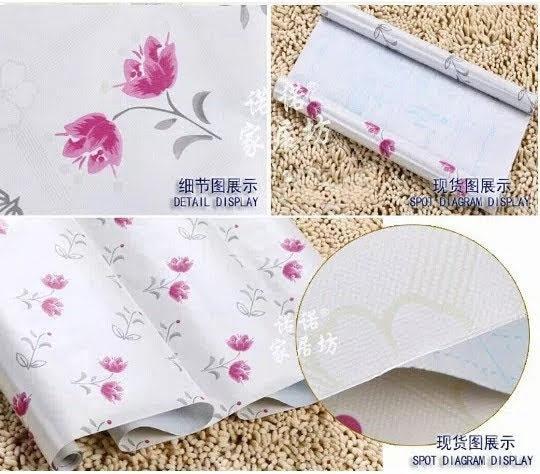 Grosir murah wallpaper sticker dinding kamar ruang indah bagus cantik elegan putih bunga pink tangkai daun