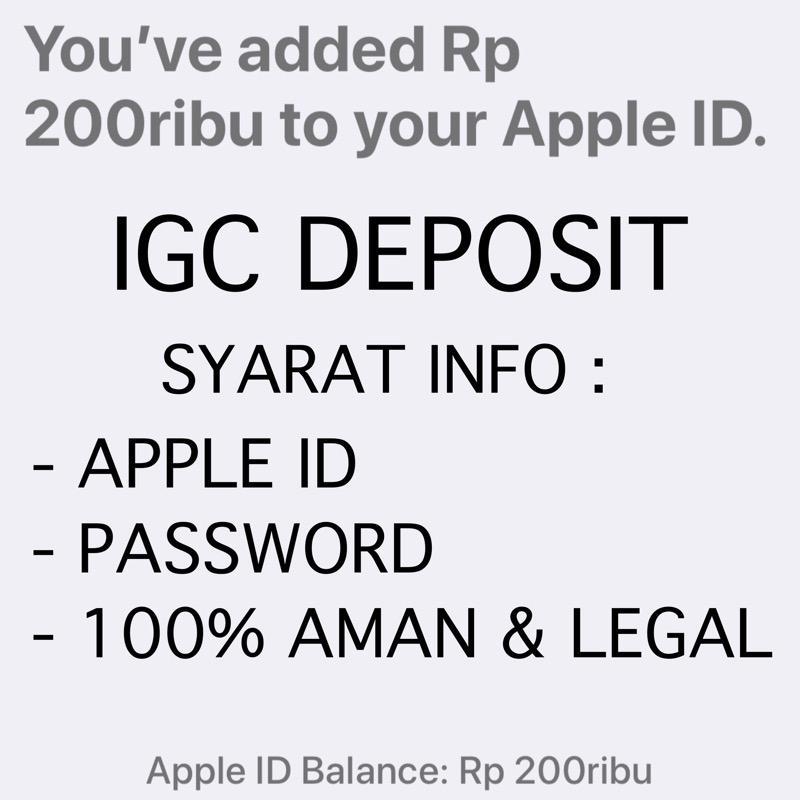 Itunes Gift Card Igc Deposit Rp. 200.000 Indonesia Metode Add Funds - Toko Igc By Toko Igc.