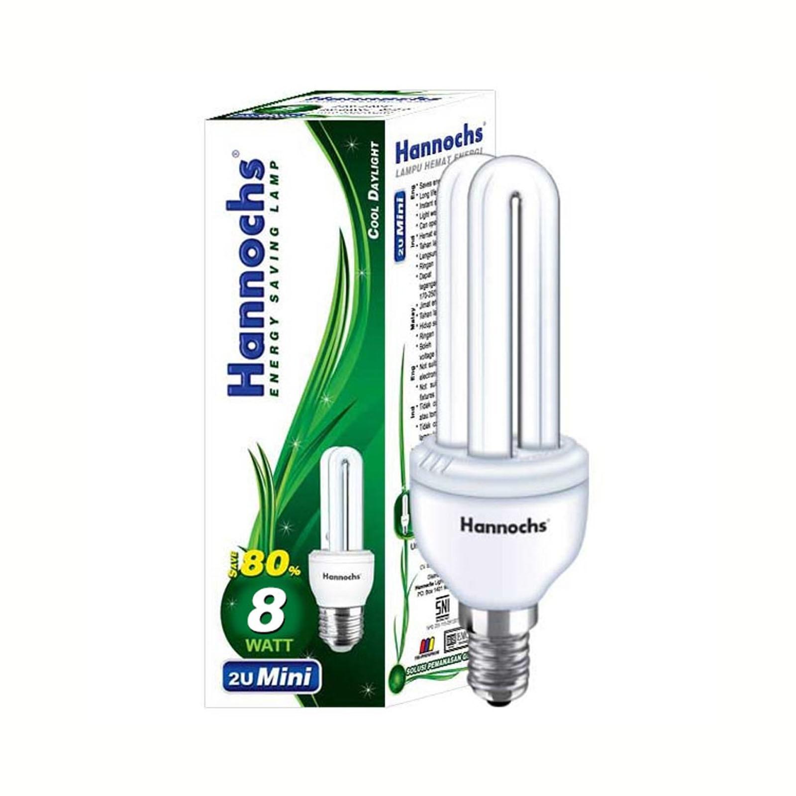 Lampu PLC 8 Watt 2U HANNOCHS - Garansi 1Th