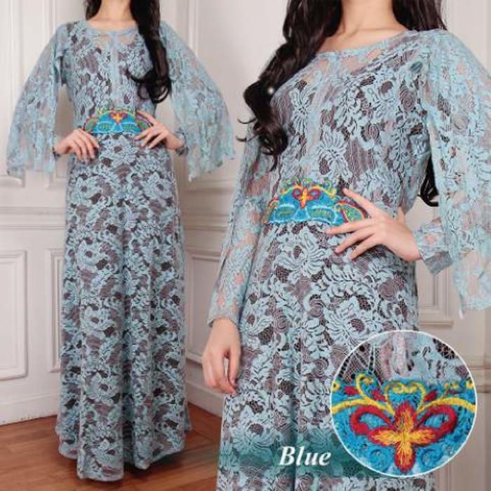 [Kaftan Maya Blue SW] kaftan wanita brukat serena biru
