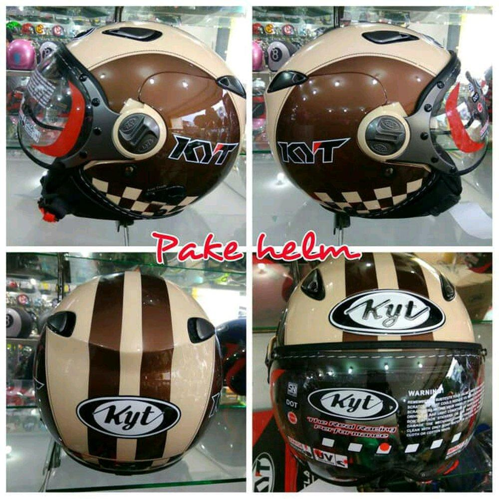 HELM KYT ELSICO RETRO PILOT 2 CREAM BROWN