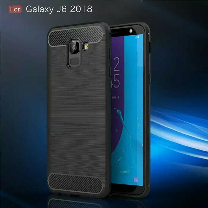 Best Seller - Fiber Line Case Samsung J6 2018 Softcase Casing Back Cover Carbon Tpu - Casing Hp Terlaris Dan Terbaru