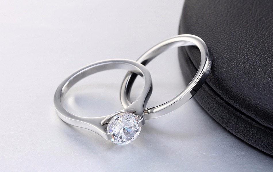 NEW Promo Perhiasan Set Cincin Silver Stainless Steel Berlian Pria Wanita Couple BR169 Murah