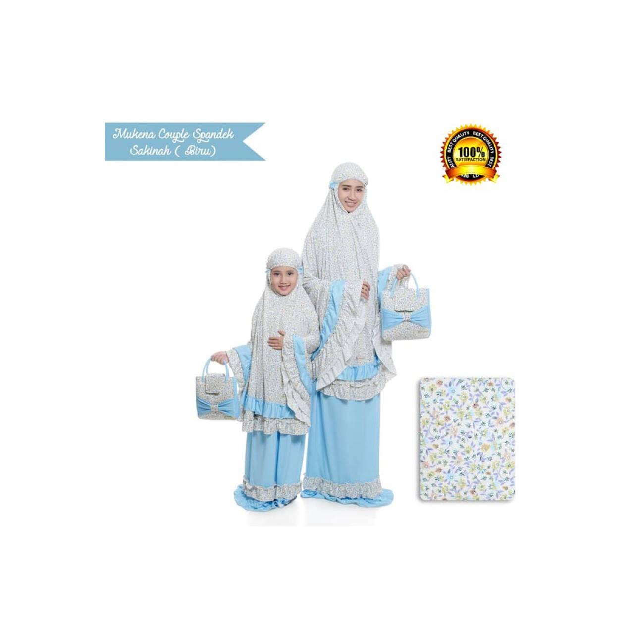 Mukena Couple Ibu dan Anak BIRU Bahan Spandek Sakinah 100% Original - Biru Muda