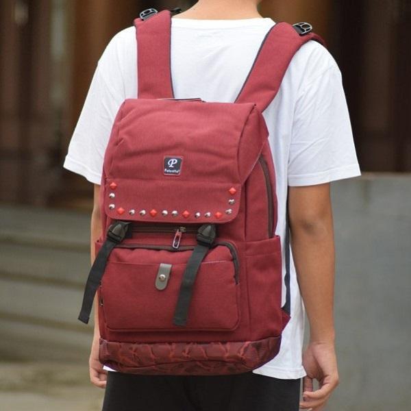 Tas Ransel Backpack Palo Alto Power Land Original Kanvas Merah Marun