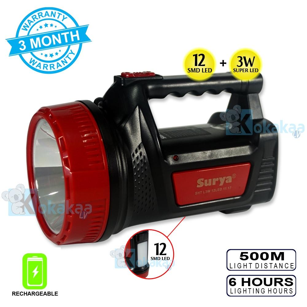 Surya Senter Led + Lampu Emergency 2 in 1 SHT L3W White Light Super LED 3W + Light LED 12SMD Rechargeable 6 Hours