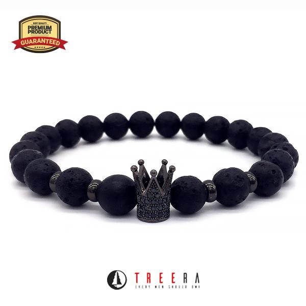 Treera Gelang Pria Batu Lava Stone Mahkota Original Keren Premium
