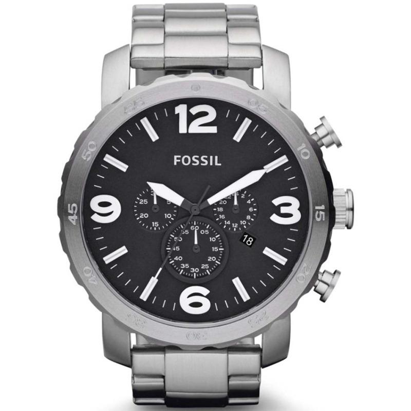 Fossil Nate Chronograph - Jam Tangan Pria - Silver - Stainless Steel - JR1353
