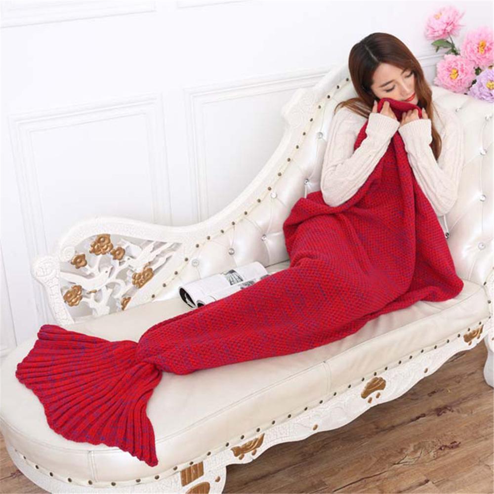Rimas Selimut Rajut Model Putri Duyung 70 X 140 CM - Red