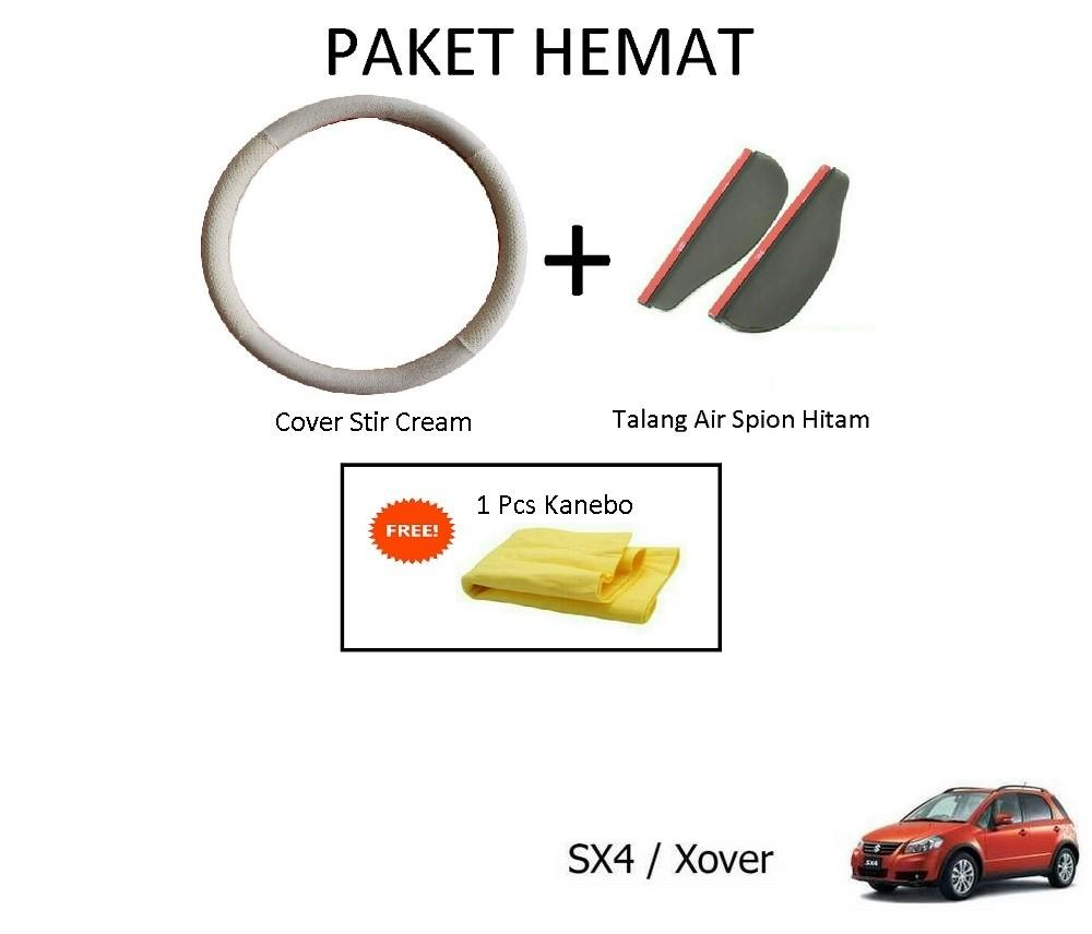 Sarung / Cover Stir / Setir / Steer Mobil SX4 / XOVER Warna Cream + Talang Air Spion Hitam