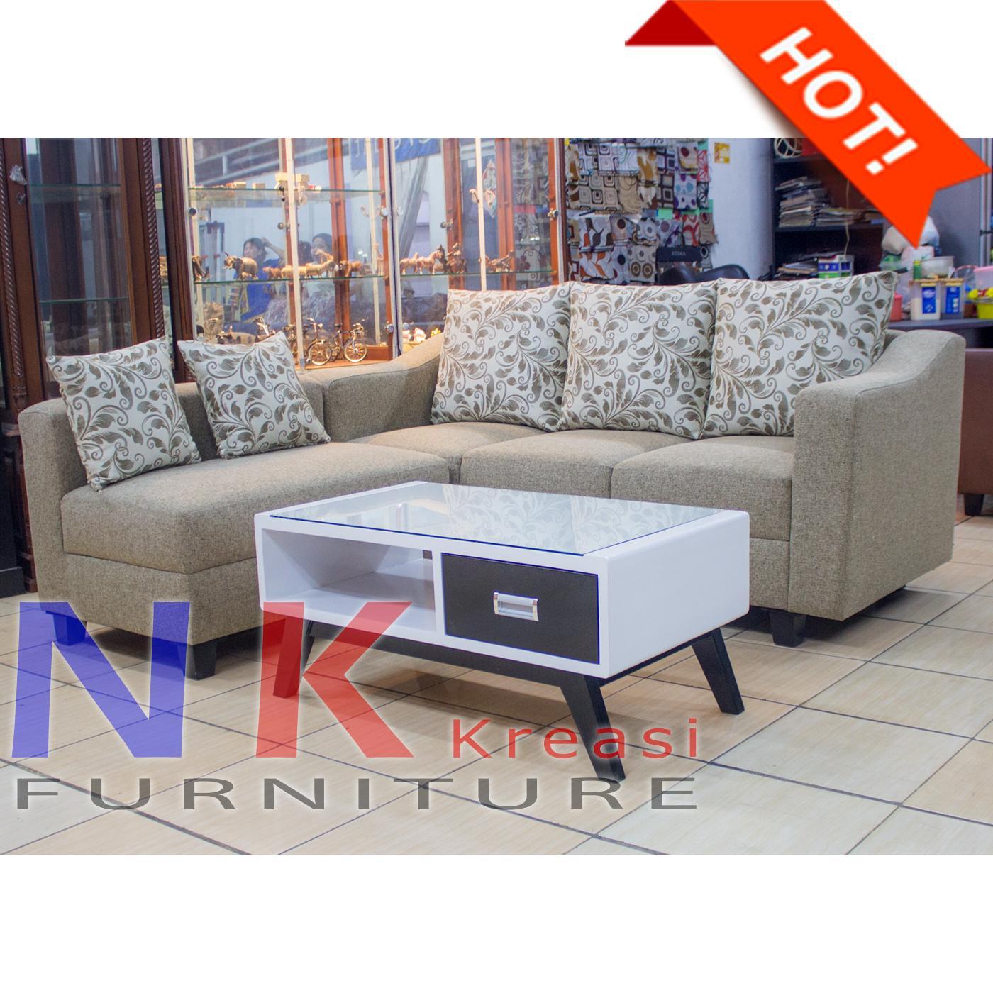 Sofa Kursi Ruang Tamu L sudut ELEGAN Minimalis mewah + MEJA CANTIK n- JABODETABEK ONLY