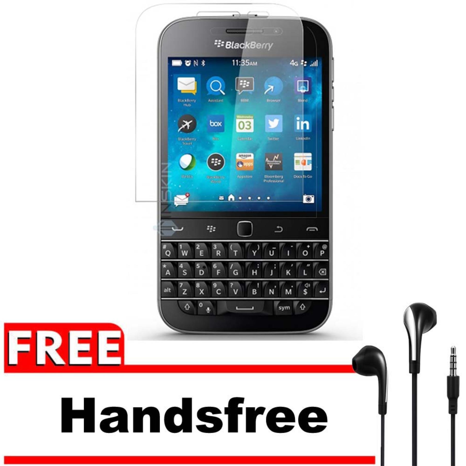Vn Blackberry BB Q20 / Classic Tempered Glass 9H Screen Protector 0.32mm + Gratis Free Handsfree Earphone Headset Universal - Bening Transparan