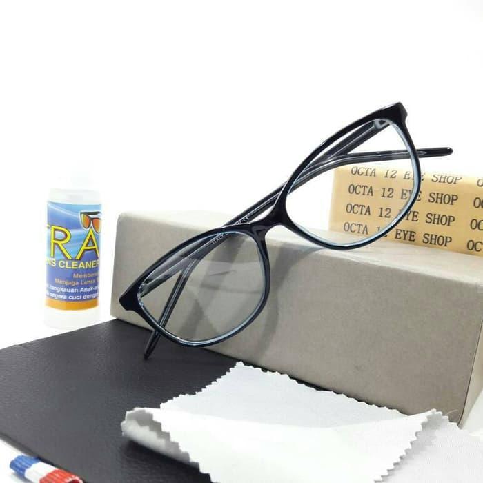 Harga Diskon!! Kacamata Id B021 Hitam Kombinasi Biru + Lensa Minus Dan Anti Radiasi - ready stock