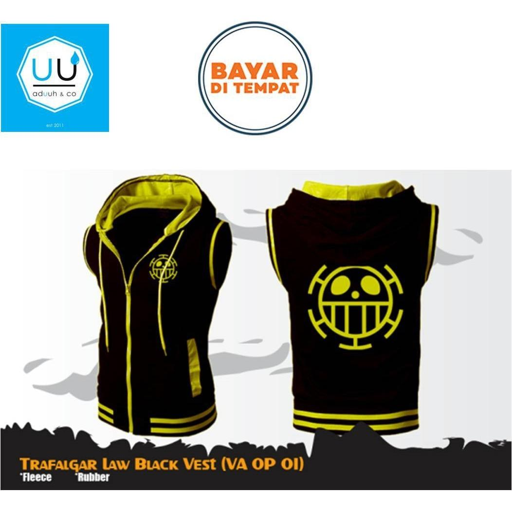 Jaket Rompi Anime Hoodie Zipper  One Piece Style Trafagal Law Best Seller Vest ( VA OP 01 ) - Black
