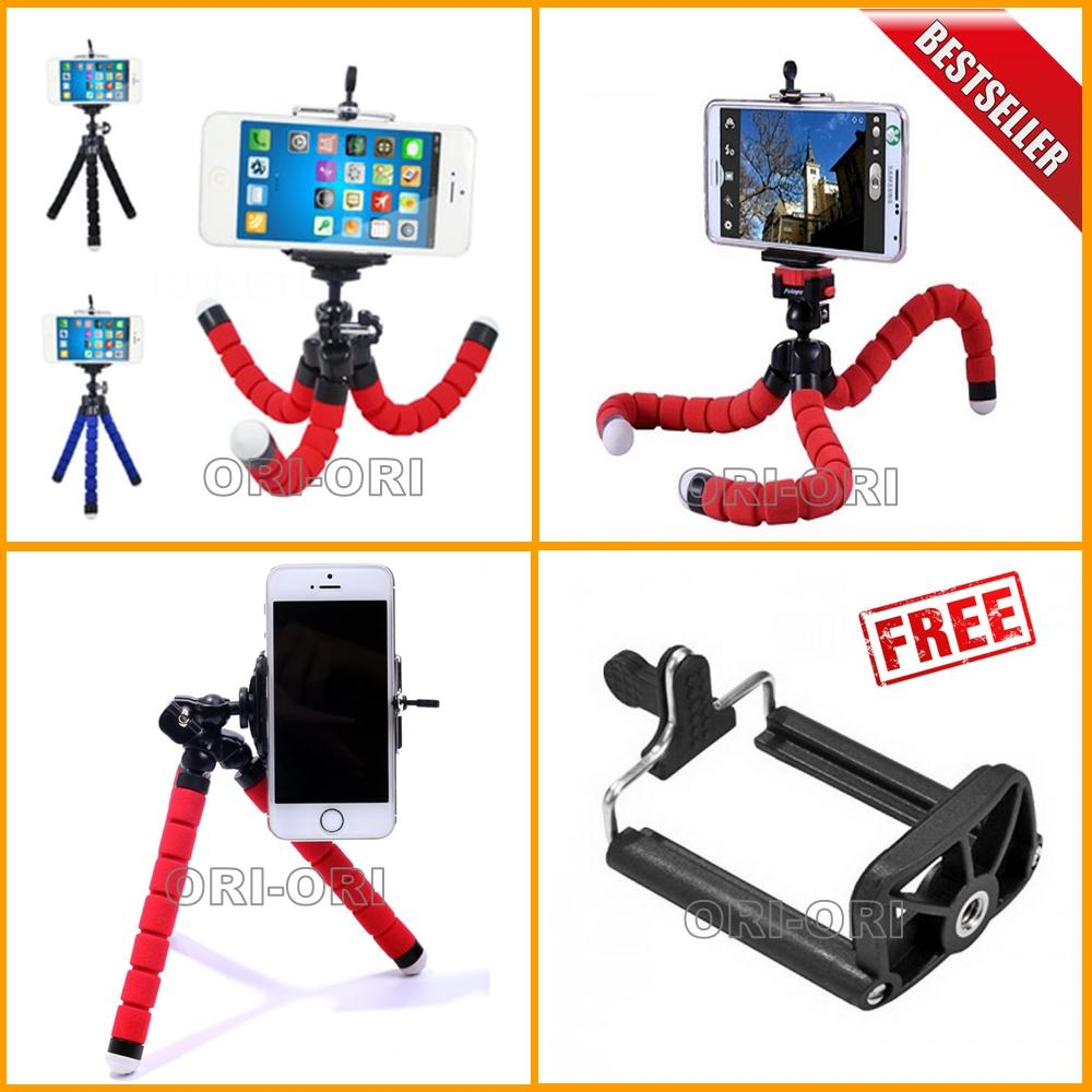 Universal Tripod Mini / Tripod Spider Untuk Hp & Kamera Pocket / Camera Action + Bonus Holder U - Warna Random [ ori-ori ]