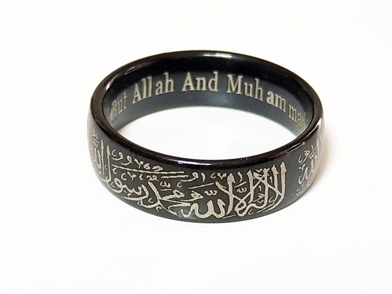 Cincin Fashion Pria Terbaru Blue Sapphire Ring Stainless Steel Vee Tauhid Islam Muslim Ukiran Lafadz Syahadat Bahan Titanium