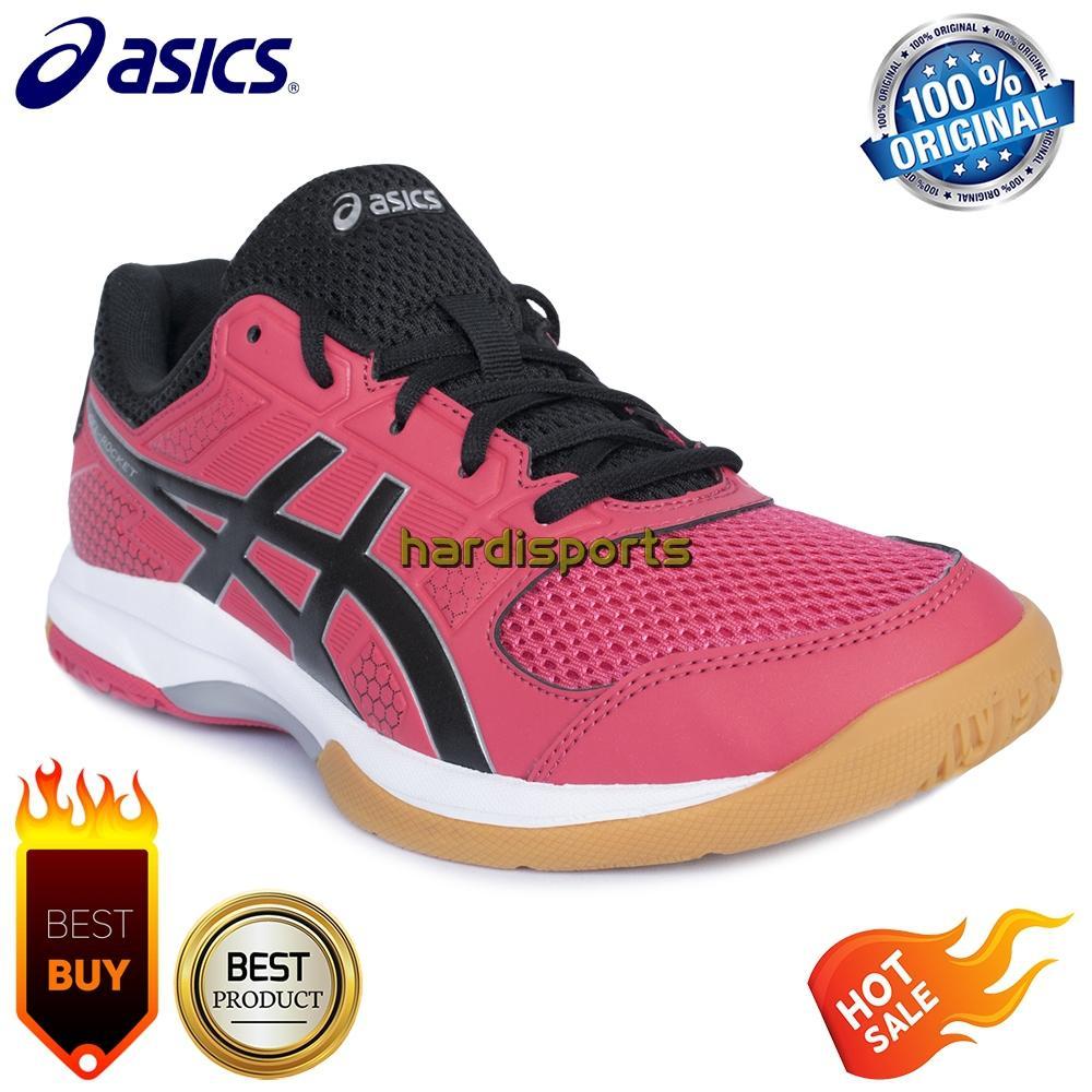 Sepatu Badminton   Tenis Meja Wanita Asics Gel Rocket 8 B756Y-1990 - Rouge  Red c00f7f7a25