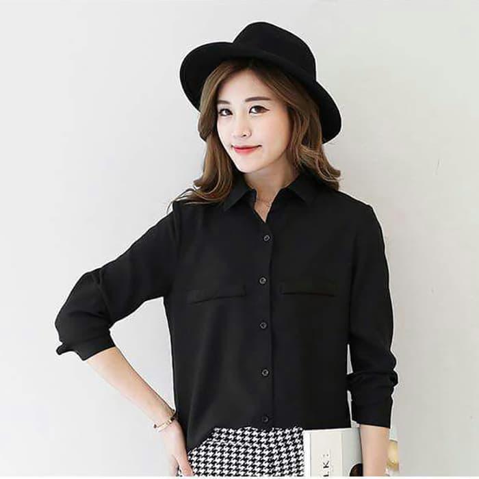 Okechuku Kemeja Polos Korean Style Long Plain Shirt Long Sleeve - Ummi