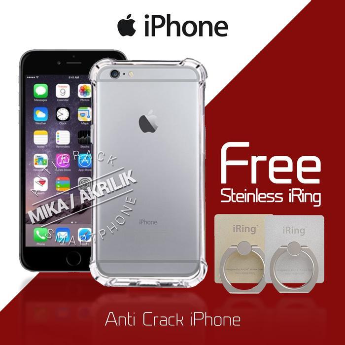 Acrylic Anticrack Mika Case Free Iring Polos for Iphone 4 - Belakang Acrilic Keras - Pinggir Silicone Soft - Clear