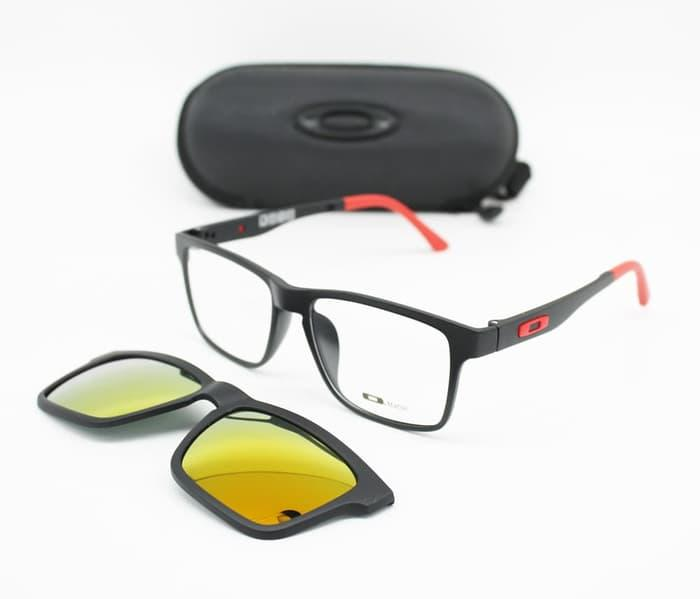 PALING LARIS Frame Kacamata Minus Oakley Clip On 8008 Pria Hitam Merah 5db7c2dfb8