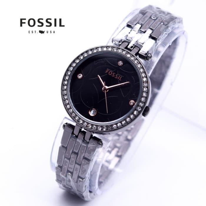 Jam Tangan Wanita Fossil FS-1023 Tanggal Rantai - Hitam / Fashion Wanita / jam