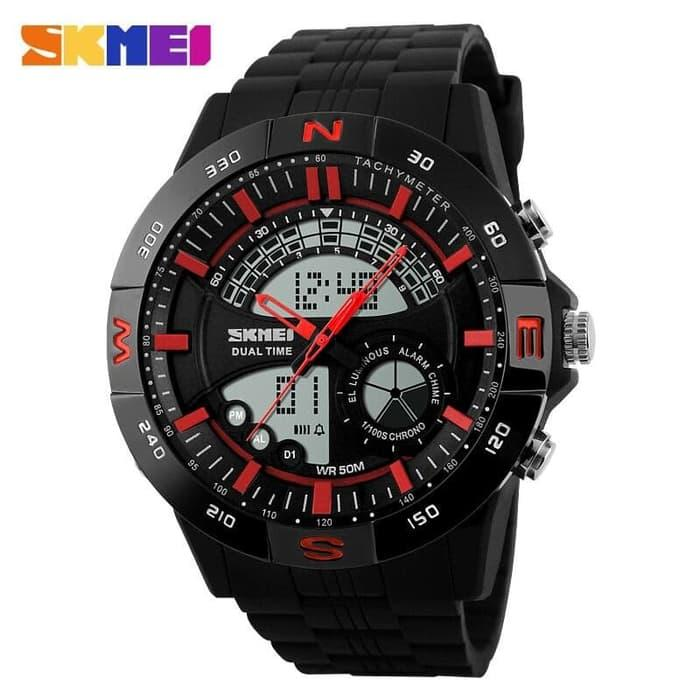 Harga Diskon!! Skmei Casio Men Sport Led Watch Ad1110 Hitam Merah - ready stock