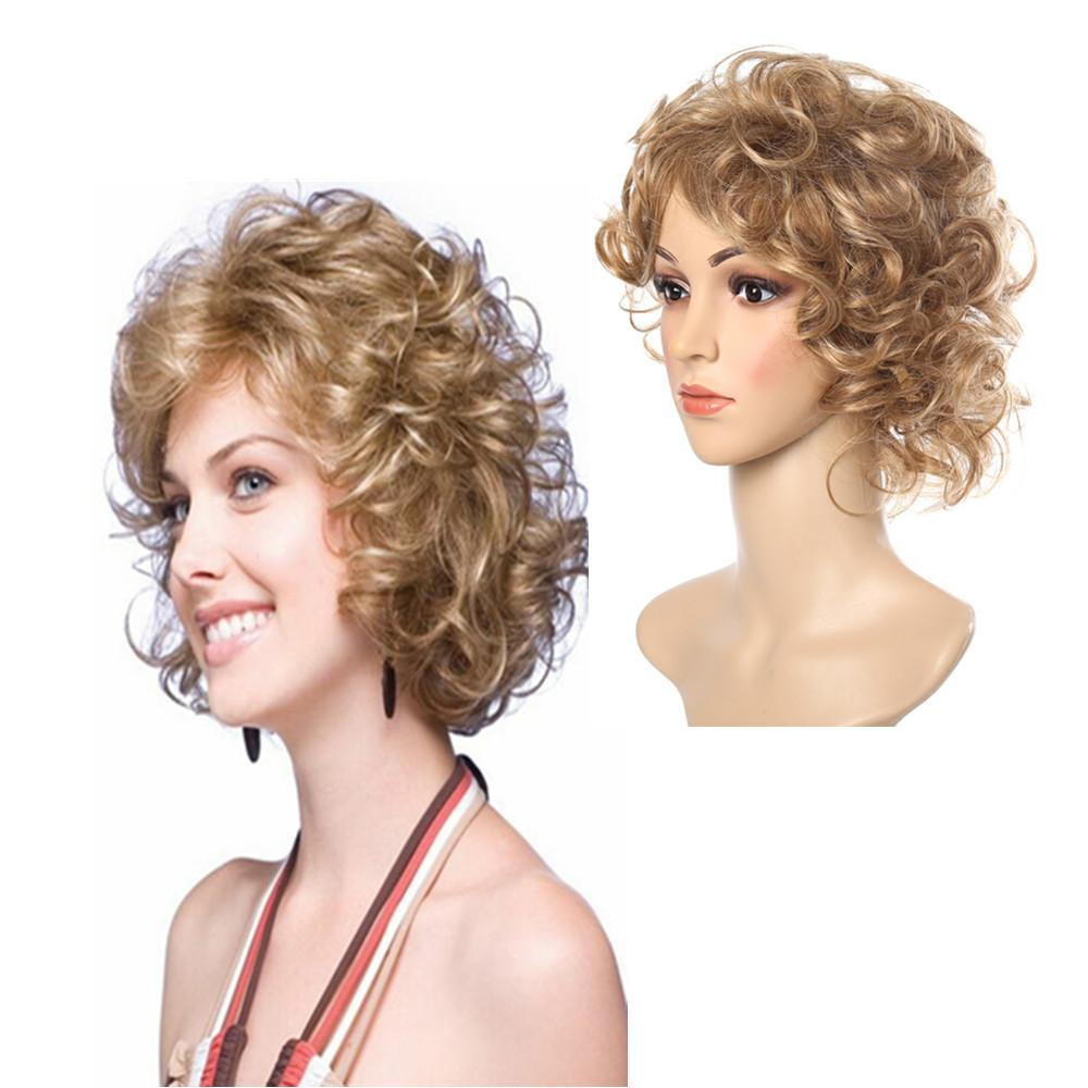 Wig putih berbulu kecil rambut keriting gaya rambut rambut pendek wajah perempuan wig palsu amazon perekat kertas bersih